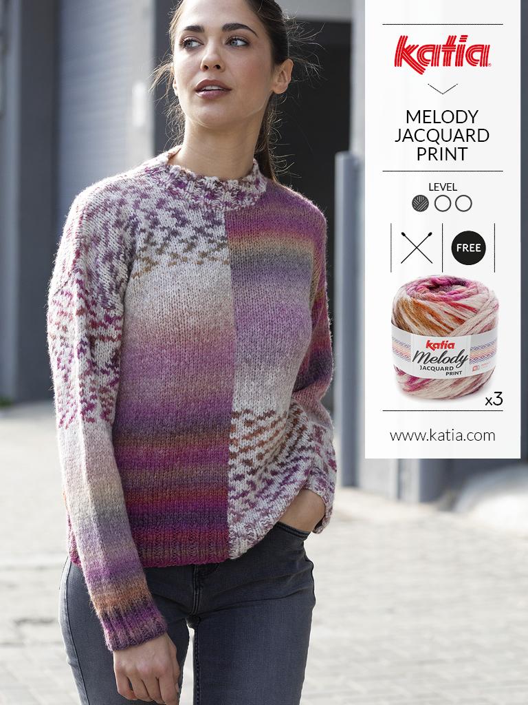 Handgemaakte jacquard trui met Katia easy jacquard print