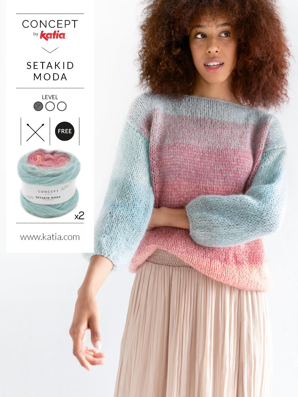 Handgemaakte trui voor beginners met Katia setakid moda