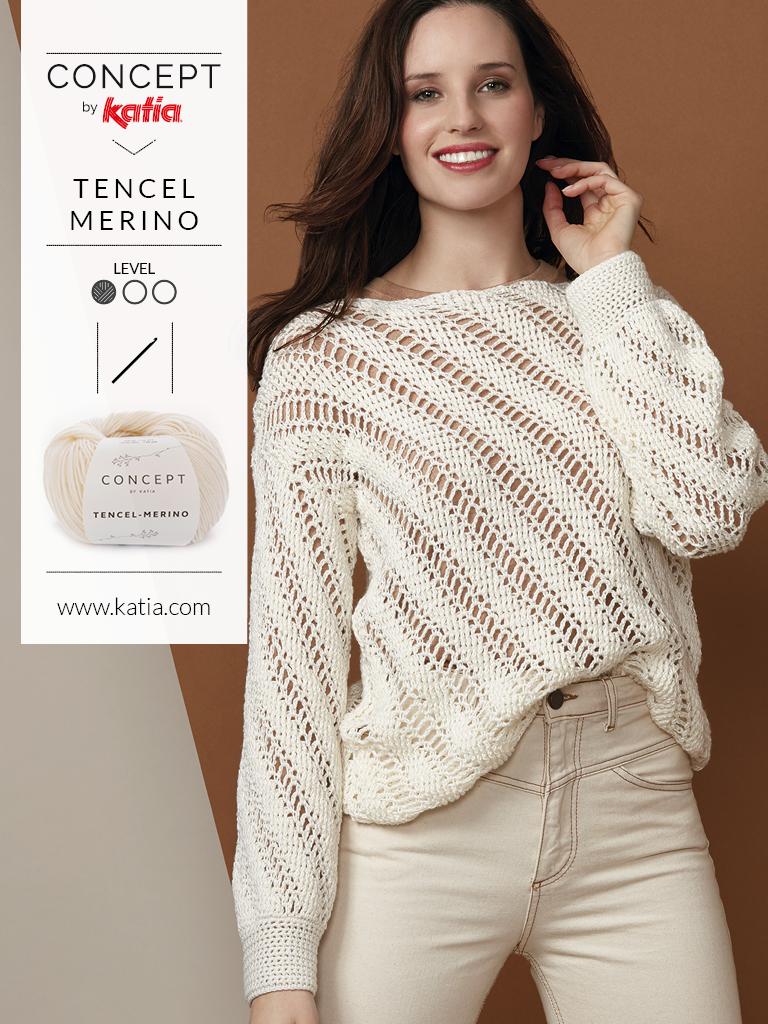 Gehaakte trui voor beginners met Katia Tencel Merino