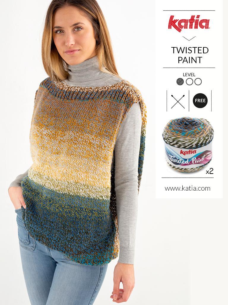 Gehaakt vest voor beginners met Katia Twisted Paint