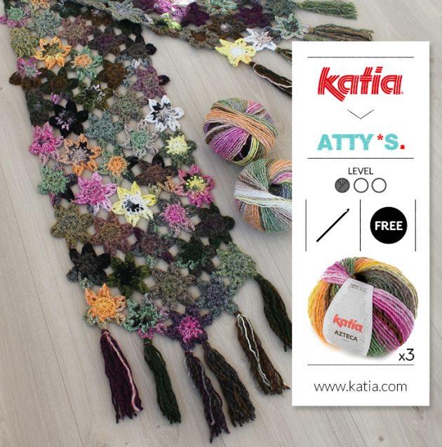 Gehaakte bloemensjaal met Katia Azteca door Atty van Norel