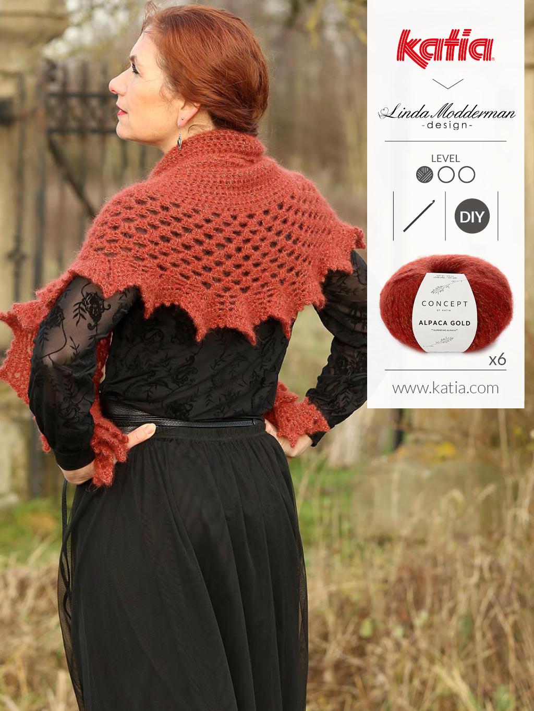 Winter Rose Sjaal met Katia Alpaca Gold door Linda Modderman - gratis patroon
