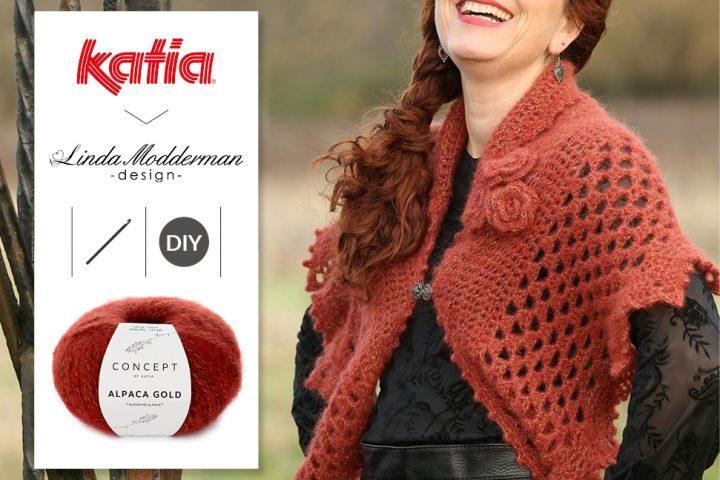 Winter Rose Wrap met Katia Alpaca Gold door Linda Modderman - gratis haakpatroon