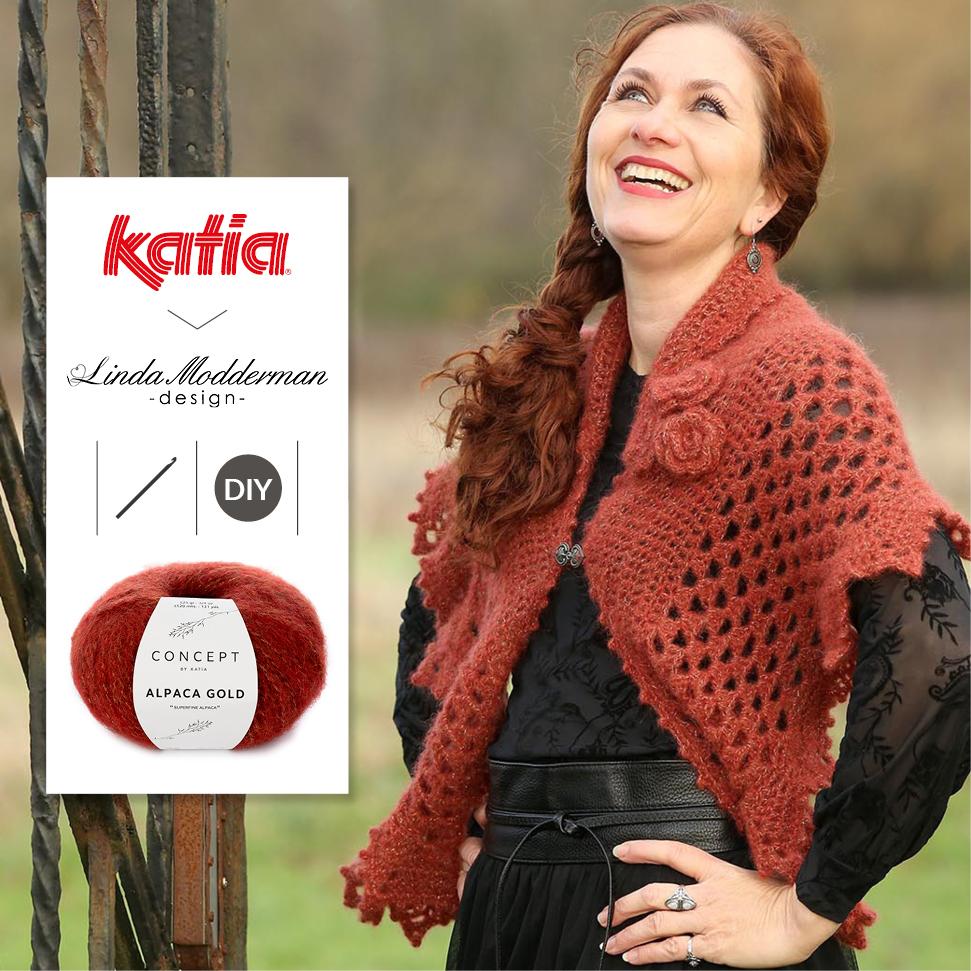 Winter Rose Wrap haakpatroon met Katia Alpaca Gold door Linda Modderman - gratis haakpatroon
