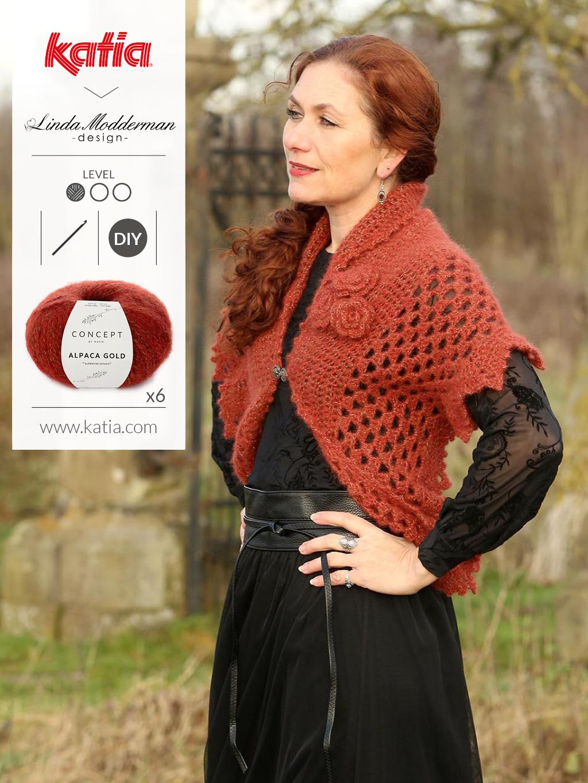 Winter Rose omslagdoek met Katia Alpaca Gold door Linda Modderman - gratis patroon