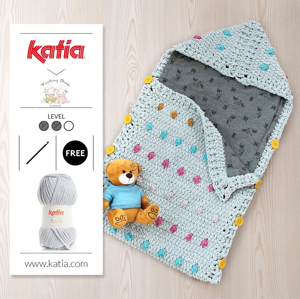 gehaakte slaapzak voor baby's - gratis haakpatroon met Katia Bambi
