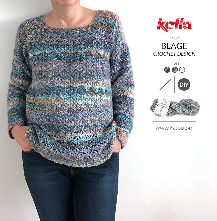Gehaakte Eurybia trui door BlageCrochetDesign met Katia Cotton-Merino