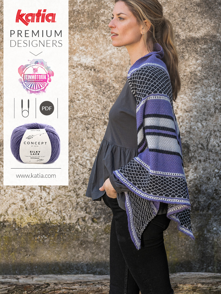 El Diamante omslagdoek door Julia-Maria Hegenbart @Feinmotorik voor Katia Premium Designers