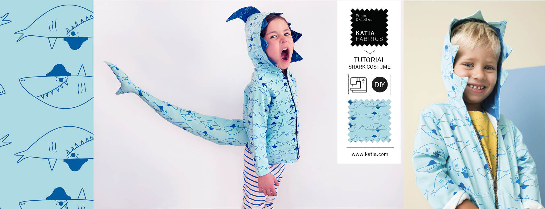 Haaienkostuum naaien - gratis naaipatroon haaienpak