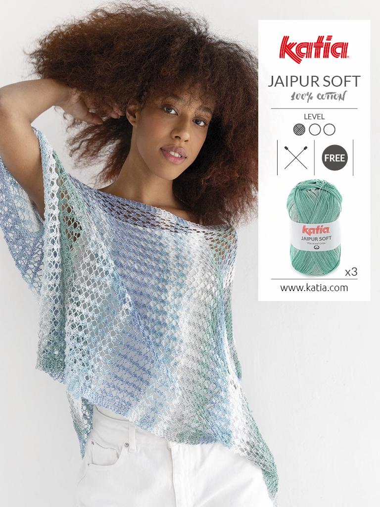 gebreide poncho met Katia Jaipur Soft