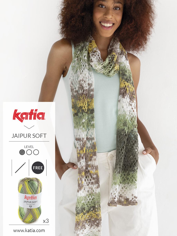 Gratis breipatroon: gebreide sjaal met Katia Jaipur Soft