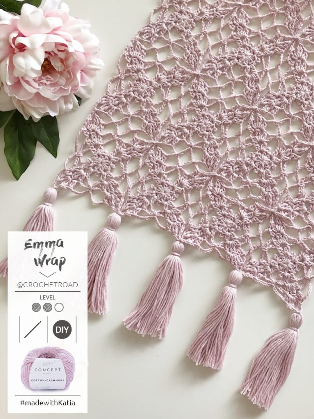 romantische sjaal met kwastjes door @crochetroad met Katia Cotton-Cashmere