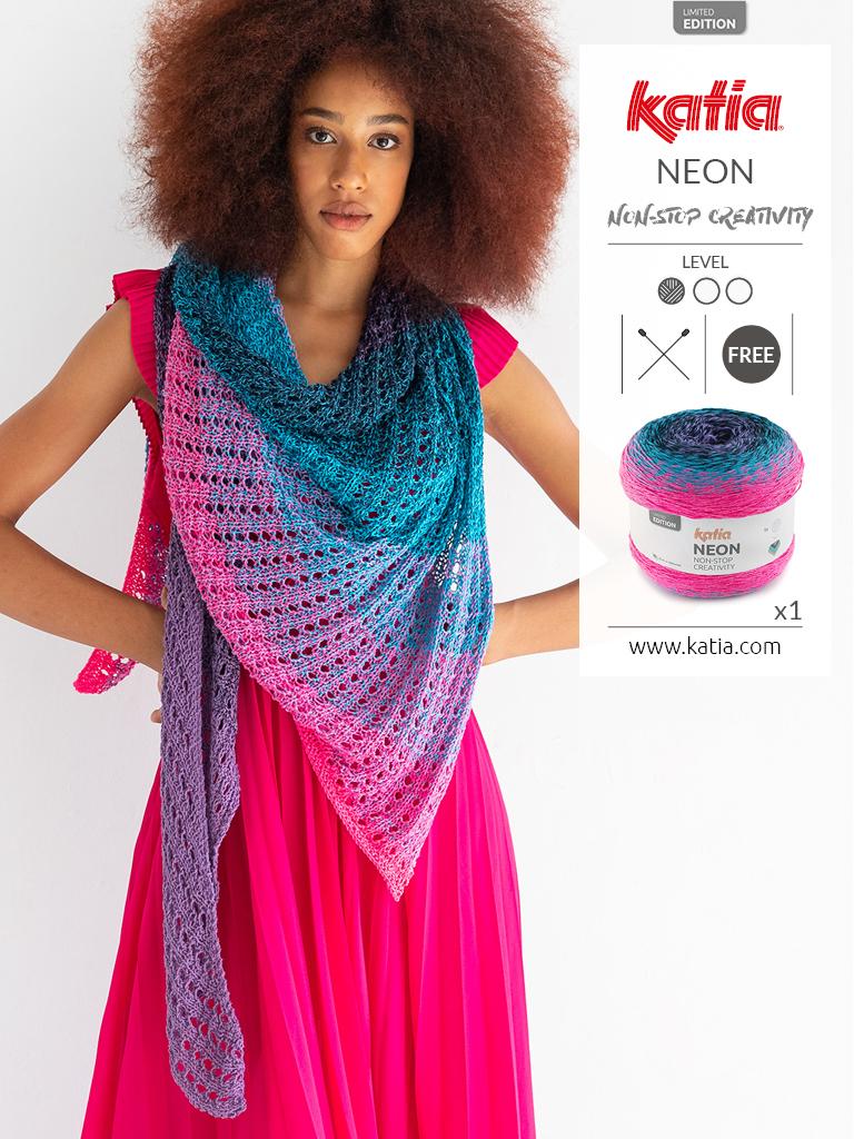 gratis breipatroon: gebreide omslagdoek met Katia Neon