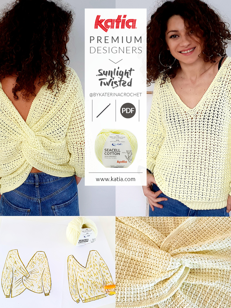 gehaakt truitje met gekruiste achterkant door @bykaterinacrochet met Katia Seacell Cotton