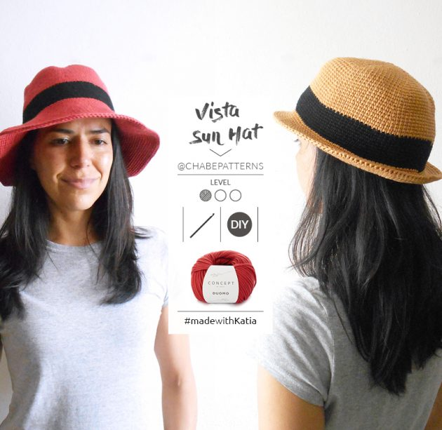 Bucket Hat zomerhoed haken - gratis haakpatroon door Chabepatterns met Katia Duomo