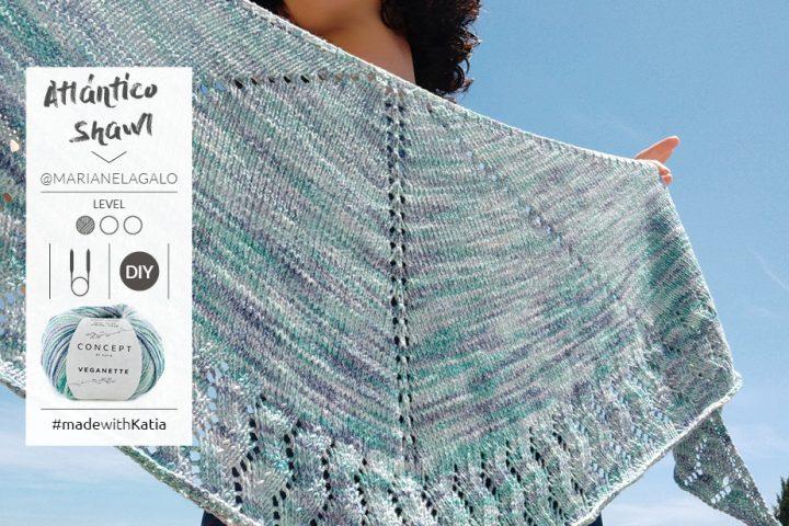 Gratis breipatroon: Atlántico omslagdoek met Katia Veganette (ovale sjaal/halve maan)