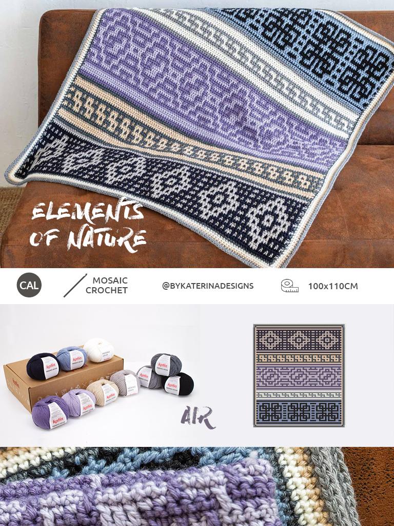 Elements of Nature CAL 2020 - mozaikhaken met Katia en @bykaterinacrochet