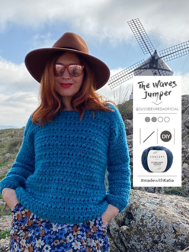 The Waves trui door Susi se enreda: gratis haakpatroon met Katia Ultralight Merino