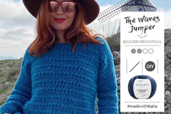 The Waves trui door Susi se enreda: gratis haakpatroon met Katia Ultralight Merino