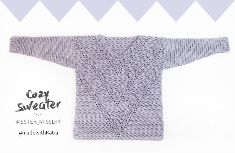 Cosy Sweater door Miss DIY - gehaakte trui gratis haakpatroon1