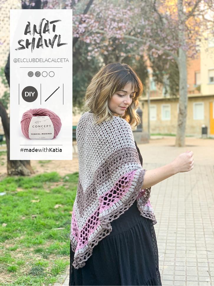 Anat omslagdoek, een gratis haakpatroon door El Club de la Calceta