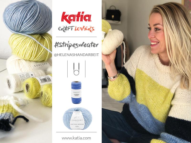 Gestreepte trui op rondbreinaalden door Helenas Handarbeit: gratis breipatroon #Stripesweater maat S-XL