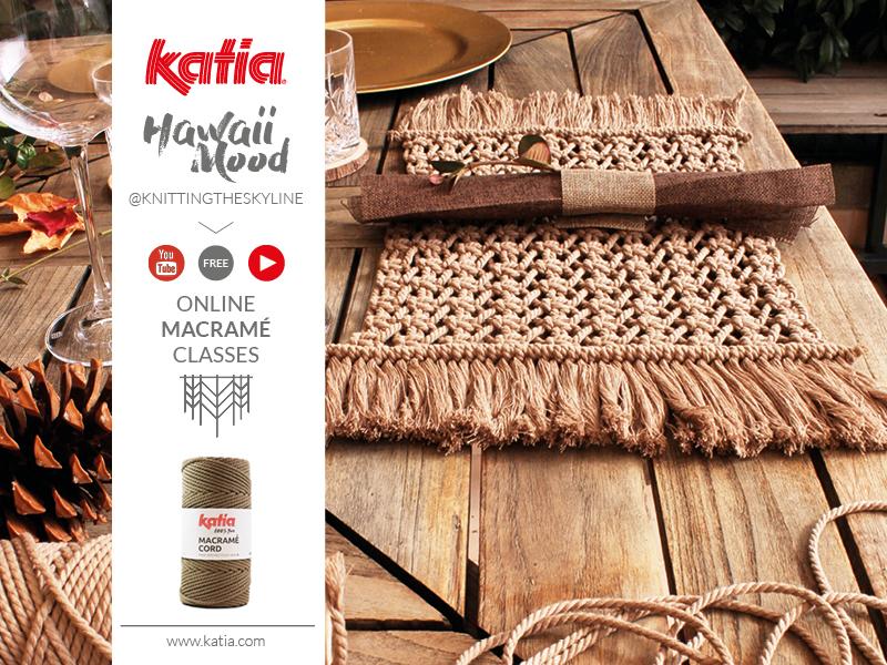 Gratis online macramé cursus: stap voor stap videos met Katia Macrame Cord en knittingtheskyline