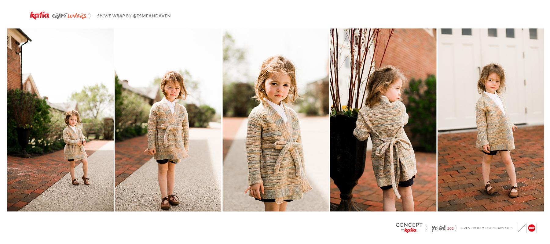 Sylvie Wrap van @esmeandaven - gratis haakpatroon voor een gehaakt kimonovestje voor kinderen met Katia Yoga