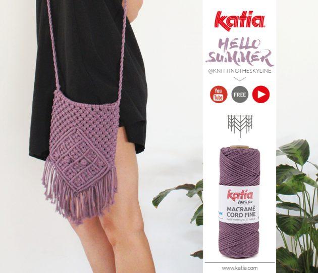 Macrame tas maken - gratis patroon en video met Knittingtheskyline en Katia Macrame Cord Fine