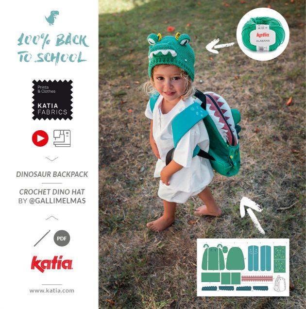 dino rugzak naaien met Katia Fabrics kant-en-klare panelen voor beginners en gratis naaipatroon
