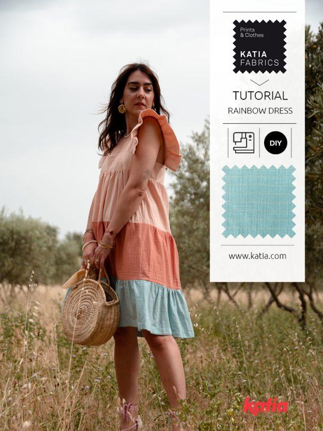 Regenboogjurk naaien met Katia Fabrics en Charlène hands