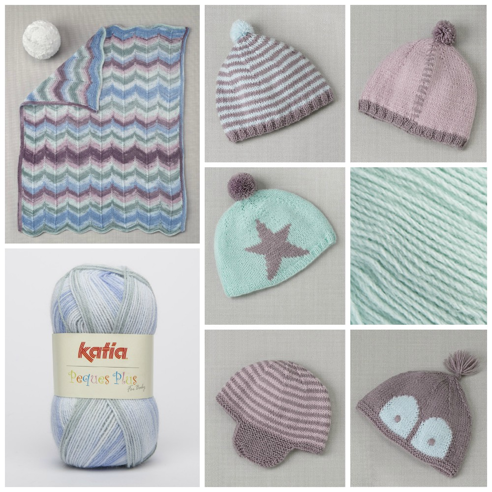 Warmly dressed babies with Katia yarns
