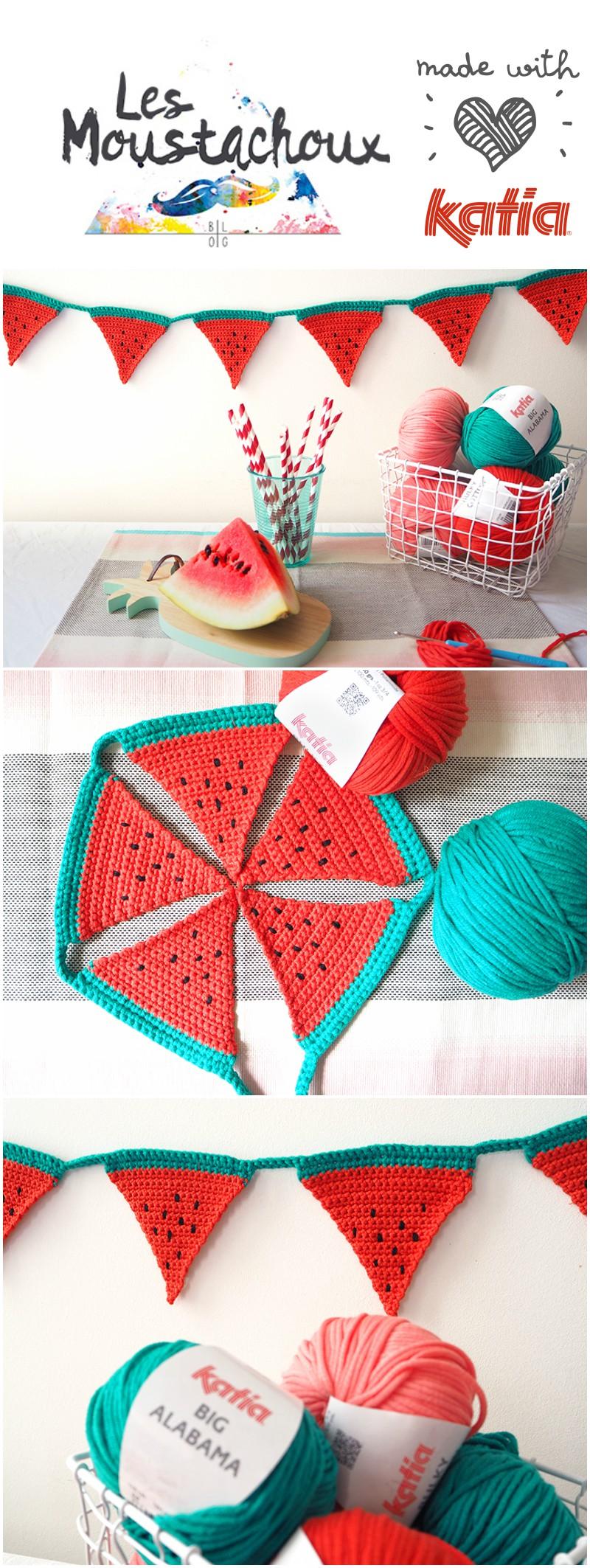 Crochet watermelon bunting by Les Moustachoux