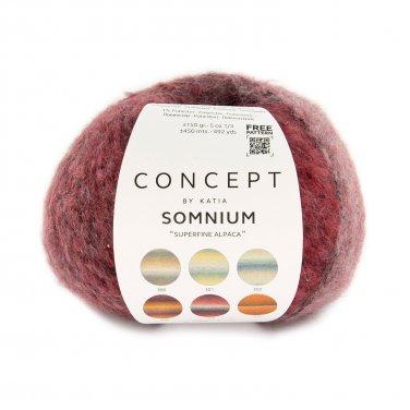 garn wolle somnium stricken alpaka baumwolle polyamid polyester grau rot herbst winter katia 304 p