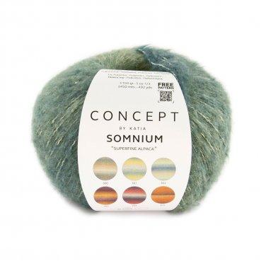 garn wolle somnium stricken alpaka baumwolle polyamid polyester grunblau braun herbst winter katia 302 p