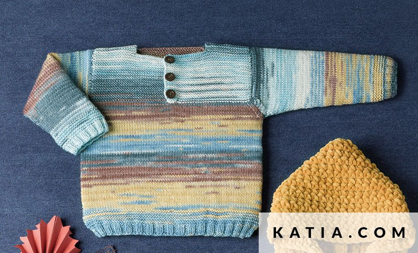 pattern knit crochet baby polo shirt autumn winter katia 5987 38 g
