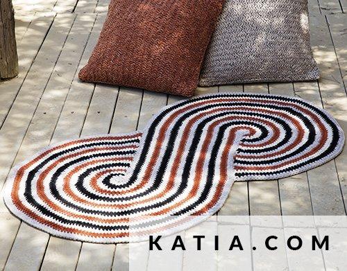 patron tricoter tricot crochet habitat tapis printemps ete katia 6023 51 g - Tapis Habitat