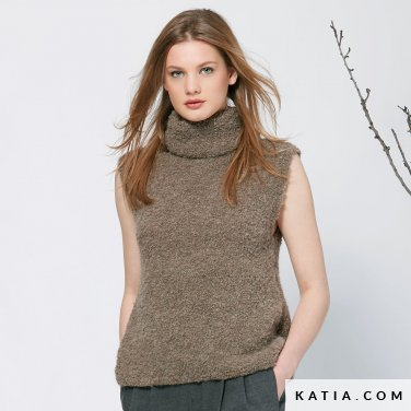 pattern knit crochet woman sweater autumn winter katia 6040 15 p