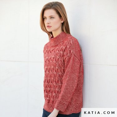 pattern knit crochet woman sweater autumn winter katia 6040 3 p