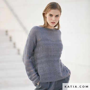 pattern knit crochet woman sweater autumn winter katia 6040 41 p
