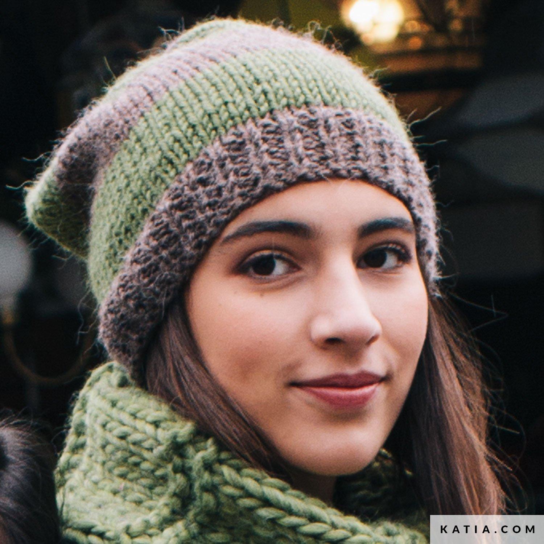93dbee88a2d pattern knit crochet woman cap autumn winter katia 6051 27 g