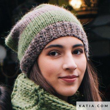 pattern knit crochet woman cap autumn winter katia 6051 27 p
