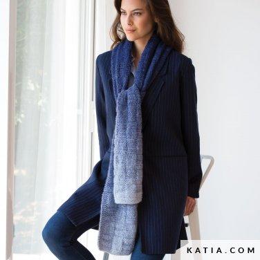 pattern knit crochet woman scarf autumn winter katia 6052 24 p