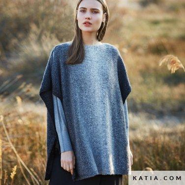 pattern knit crochet woman poncho autumn winter katia 6053 4 p