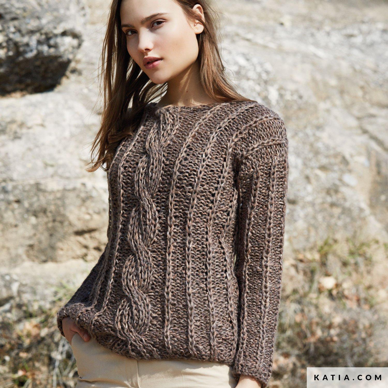 ce0eba313128 pattern knit crochet woman sweater autumn winter katia 6053 40 g