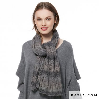 pattern knit crochet woman scarf autumn winter katia 6054 6 p