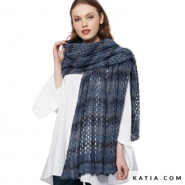 pattern knit crochet woman shawl autumn winter katia 6054 7 p
