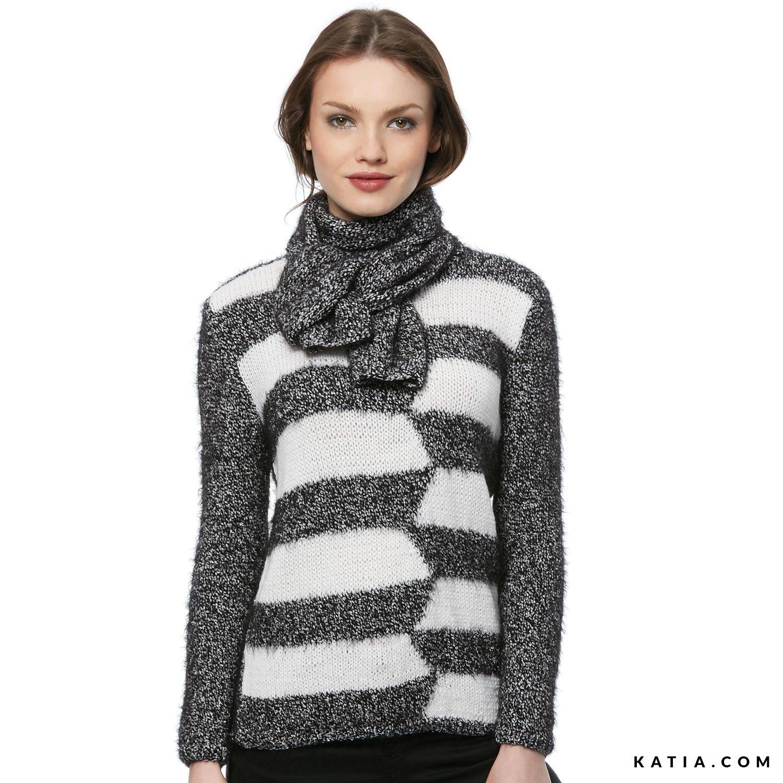 d69c8d12c pattern knit crochet woman sweater autumn winter katia 6054 39 g