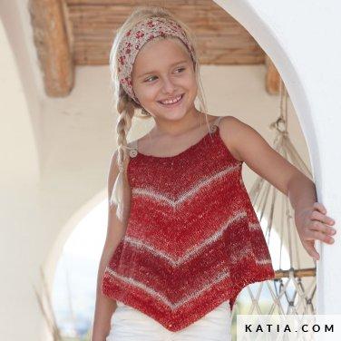 patroon breien haken kinderen topje lente zomer katia 6071 32 p