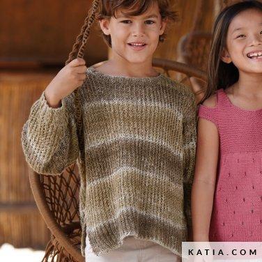 patroon breien haken kinderen trui lente zomer katia 6071 18 p